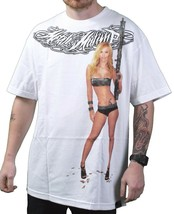 Metal Mulisha White Sharp Shooter Gun Riffle Sexy Armed Girl T-Shirt Small NWT image 1