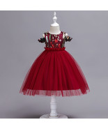 Ball Gowns White Tulle Embroidery Kids Flower Girl Dress Strapless Party... - $38.50