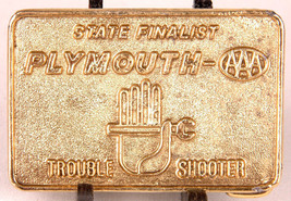 AAA PLYMOUTH Belt Buckle-State Finalist Trouble Shooter-Vtg-Brass-Hand W... - $23.36