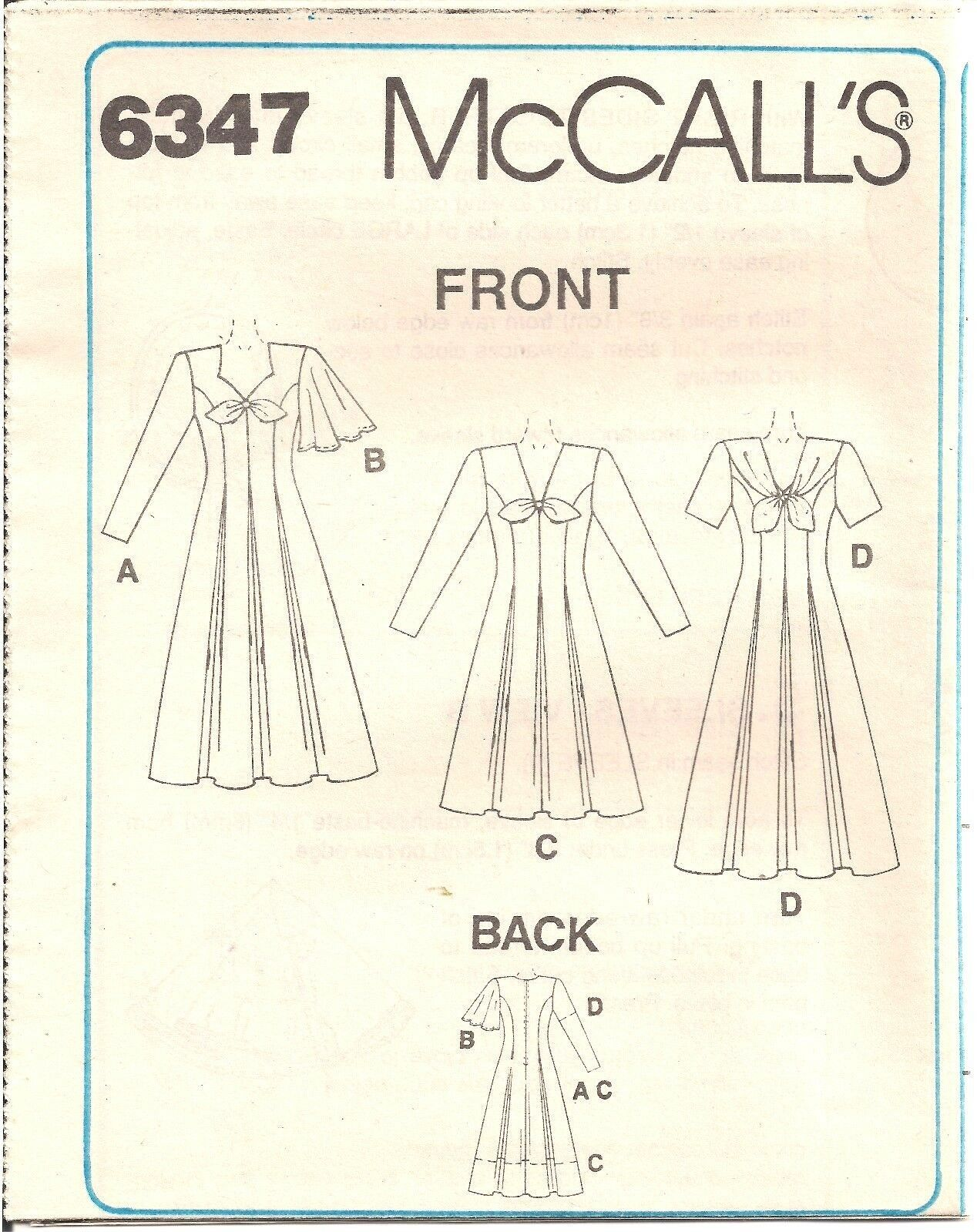 McCalls Dress Pattern 6347 Uncut Size C 101214 Instructions Included