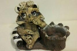 Vintage Hindt Pottery Large Adorable Big Eyed Racoon Planter Signed - $19.99