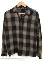 AKA Eddie Bauer Women's Size M Button Front Long Sleeve Brown Plaid Blouse Shirt - $9.95