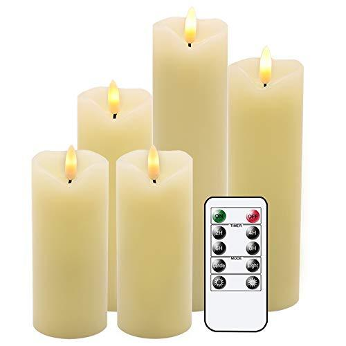 Primary image for Eldnacele Flameless Flickering Candles with Remote Timer, 3D Wick Real Wax Batte