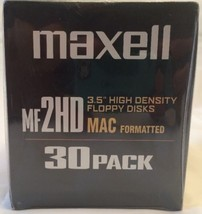 "Maxell MF2HD MAC FORMATTED 3.5"" Floppy Disks - Sealed Box of 30 Disks Br... - $29.69"