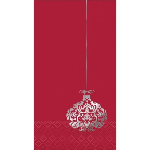 Elegant Red Christmas 16 Ct Guest Napkins Silver Foil Ornament