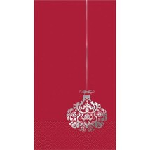Elegant Red Christmas 16 Ct Guest Napkins Silver Foil Ornament - $5.49