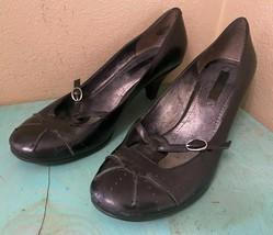 "NINE WEST ""Jamonica"" Black Leather Mary Janes Pumps Sz 6-1/2 M  - $13.54"