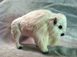 Wild White Buffalo Animal Figurine - recycled rabbit fur