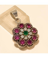 Natural Zambian Emerald Burmese Ruby Pendant Turkish 925 Sterling Silver... - $22.95