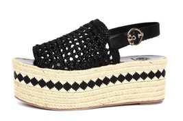 Tory Burch DANDY Espadrilles Flat Sandals Woven Leather Wedges Pumps 8.5 - $198.00