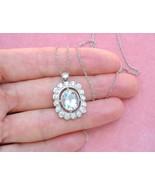 ESTATE ART DECO 3.5ct AQUAMARINE 1ctw DIAMOND HALO PLATINUM PENDANT NECK... - $2,375.01