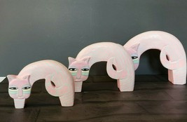 Vintage set of 3 Laurel Burch Pink Cats Figurines wooden Striped Home decor - $49.50