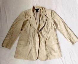 Laura Scott Womens Blazer Size 16 Beige Solid Linen Career Lined Jacket  - $8.79