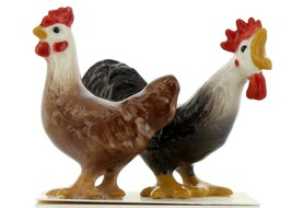 Hagen Renaker Miniature Chicken Leghorn Black Rooster & Red Hen Set