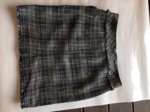 dcda6c619 Esprit Faux Wrap Skirt Navy Brown Distress Tweed Like Wool Blend Mini Skirt