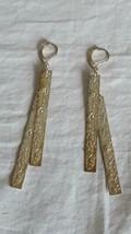"""3""""VINTAGE Rustic Disco Metal Hammered Strip Hook Earrings,Costume,Silvertone - $4.94"""