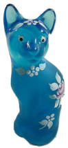 Fenton Stylized Cat Aqua Hand Painted W/Pink Rose Kitty - $46.74