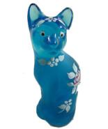 Fenton Stylized Cat Aqua Hand Painted W/Pink Rose Kitty - $46.74