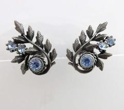 Coro Earrings Rhinestones Antiqued Silver Screw On Backs Blue Leaf Flowe... - $17.82