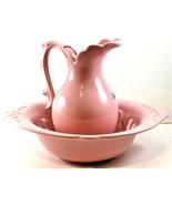 Royal Haeger Vintage 1970's Pink Bowl & Pitcher Basin Handcrafted In Ame... - $79.19