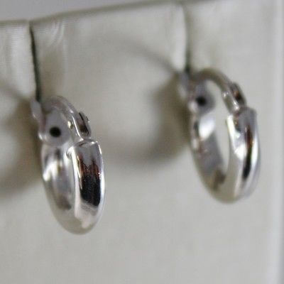 18K WHITE GOLD TWISTED EARRINGS MINI CIRCLE HOOP HOOPS 11 MM DIAM MADE IN ITALY
