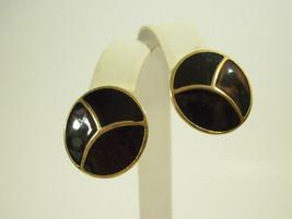 Crown Trifari Black Enamel Gold Plate Button Style Clip Earrings Vintage... - $19.75
