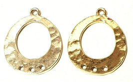 Oval Pendant With Three Holes FINE PEWTER CONNECTOR / EARRING PART 21x27x2mm