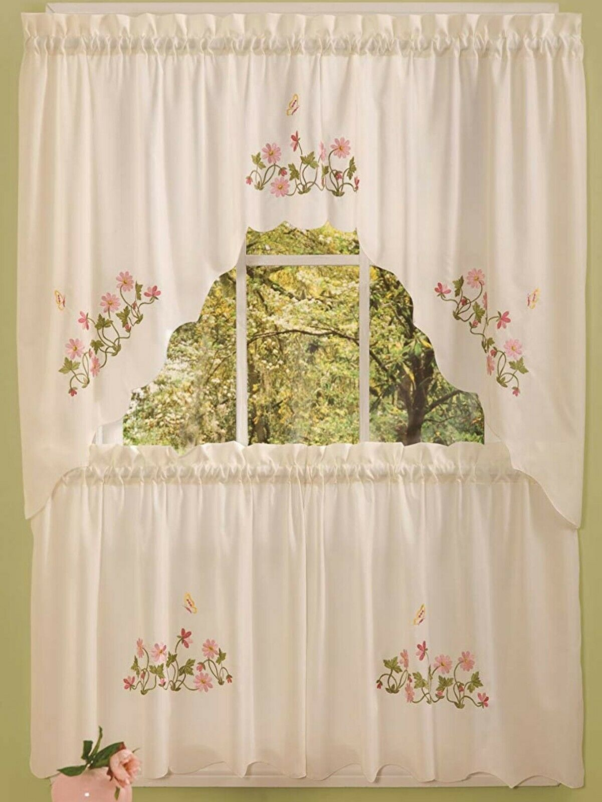 "Primary image for Embellished Cottage Curtains Set (58""x36"") BUTTERFLIES & FLOWERS, MOLLY by Achim"
