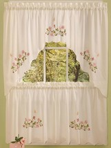"Embellished Cottage Curtains Set (58""x36"") BUTTERFLIES & FLOWERS, MOLLY ... - $19.79"