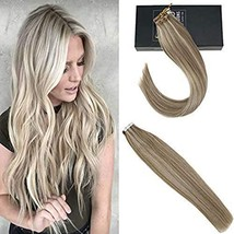 Sunny 18inch Human Hair Extensions Blonde Tape in Extensions #14 Dark Golden Blo image 1