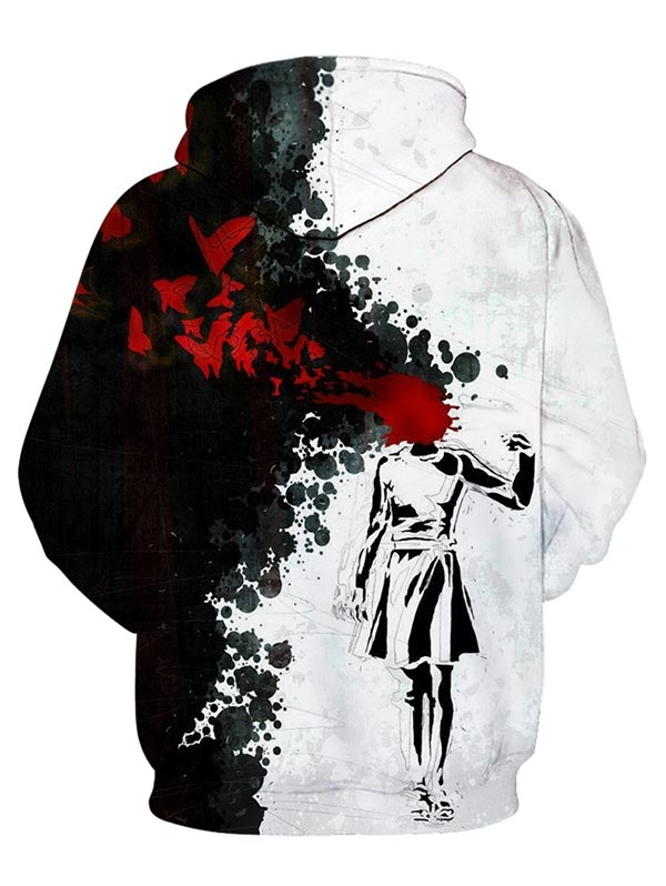 Halloween Blood Girl Printed Splash Ink Hoodie(BLACK S) image 2
