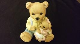 "Jumbo Teddy Bear Porcelain Figurine ""Papa Overalls & Girl"" HOMCO - $16.00"