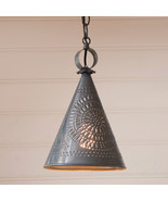"""STURBRIDGE"" PENDANT - Punched Tin Witch's Hat Cone Down Light USA Handc... - $81.13"