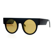 Retro Designer Fashion Sunglasses Flat Top Round Mirror Flat Lens UV 400 - $11.95