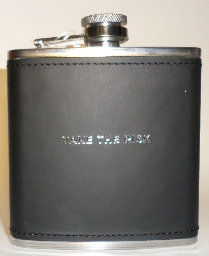 Take the Risk Liquor Flask 6 oz Papyrus black stainless steel square gift