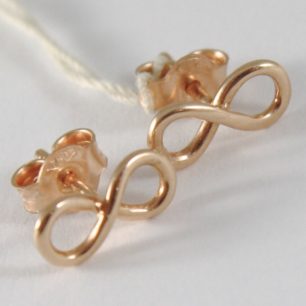 Yellow Gold Earrings, Pink or White 750 18k,Infinity Symbol, Length 1.0 Cm