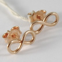 Yellow Gold Earrings, Pink or White 750 18k,Infinity Symbol, Length 1.0 Cm image 1
