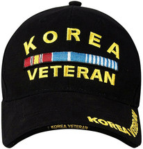 Black Korea Veteran Deluxe Low Profile Insignia Adjustable Baseball Cap - $10.99