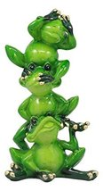 Ebros Glossy Green Whimsical Acrobatic See Hear and Speak No Evil Frogs Totem St - $16.95