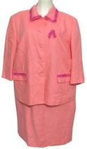 Talbots 100% Irish Linen Blazer Jacket 2 pc Dress 14W Set Salmon Pink XL Bead  - $49.45