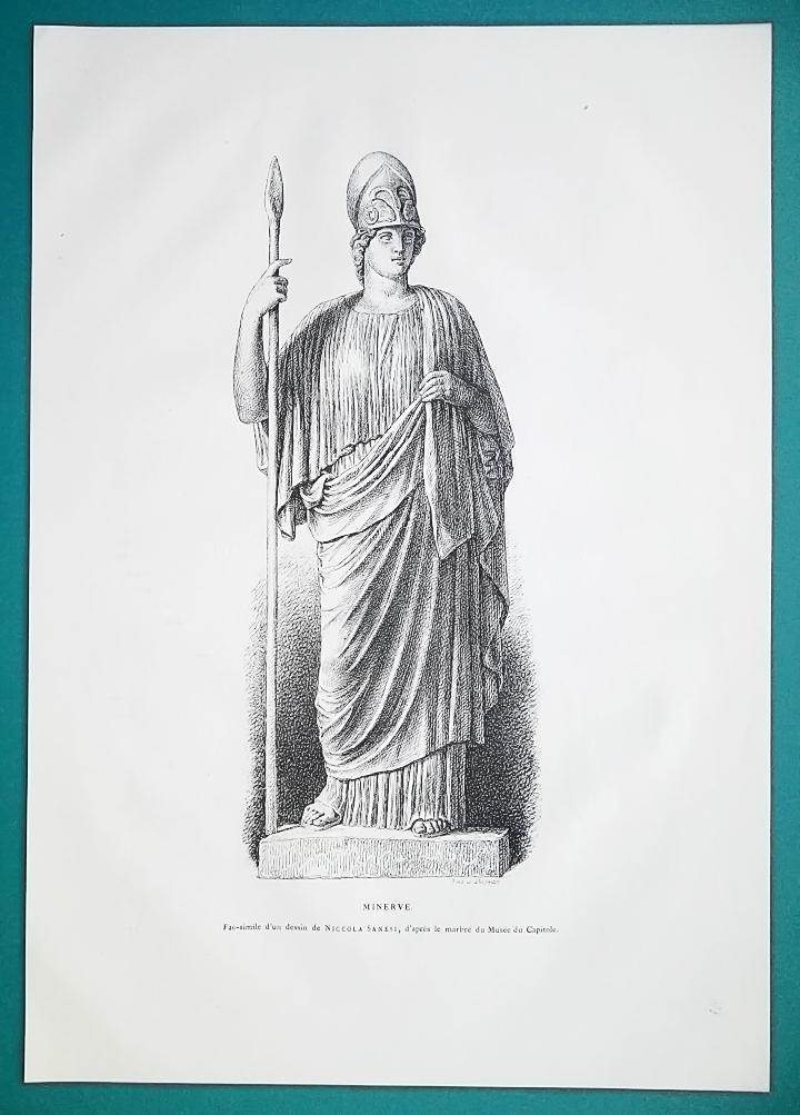 Primary image for MINERVA Goddess Statue at Capitoline Museum in Rome - 1876 Antique Print