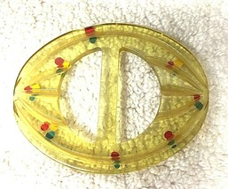 Fun Sheer Plastic Ribbon Slide Belt Buckle Vintage Soft Clear Yellow Lucite - $18.32
