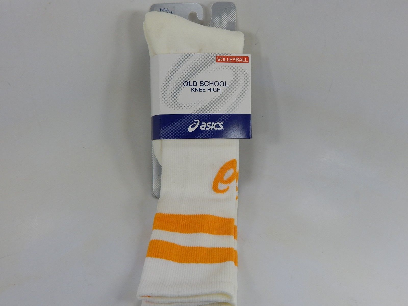 Asics Old School Knee High Volleyball Socks White/Gold S Small Womens Size 6-7.5