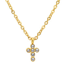 """PIATELLA Unisex 18K Gold Plated Cross necklace made with Swarovski Crystals 18"""" - $11.99"""