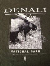 "Denali National Park Alaska Moose Dark Gray/Green 100% Cotton T-shirt S 34"" - $9.79"