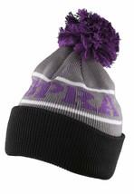 Supra Black Purple Grey Knit Pom Pom Winter Skate Fold over Beanie NWT image 2