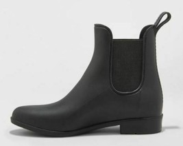 A New Day Black Chelsea Ankle Rain Boots Women's Size 10W new with Tags no box image 2