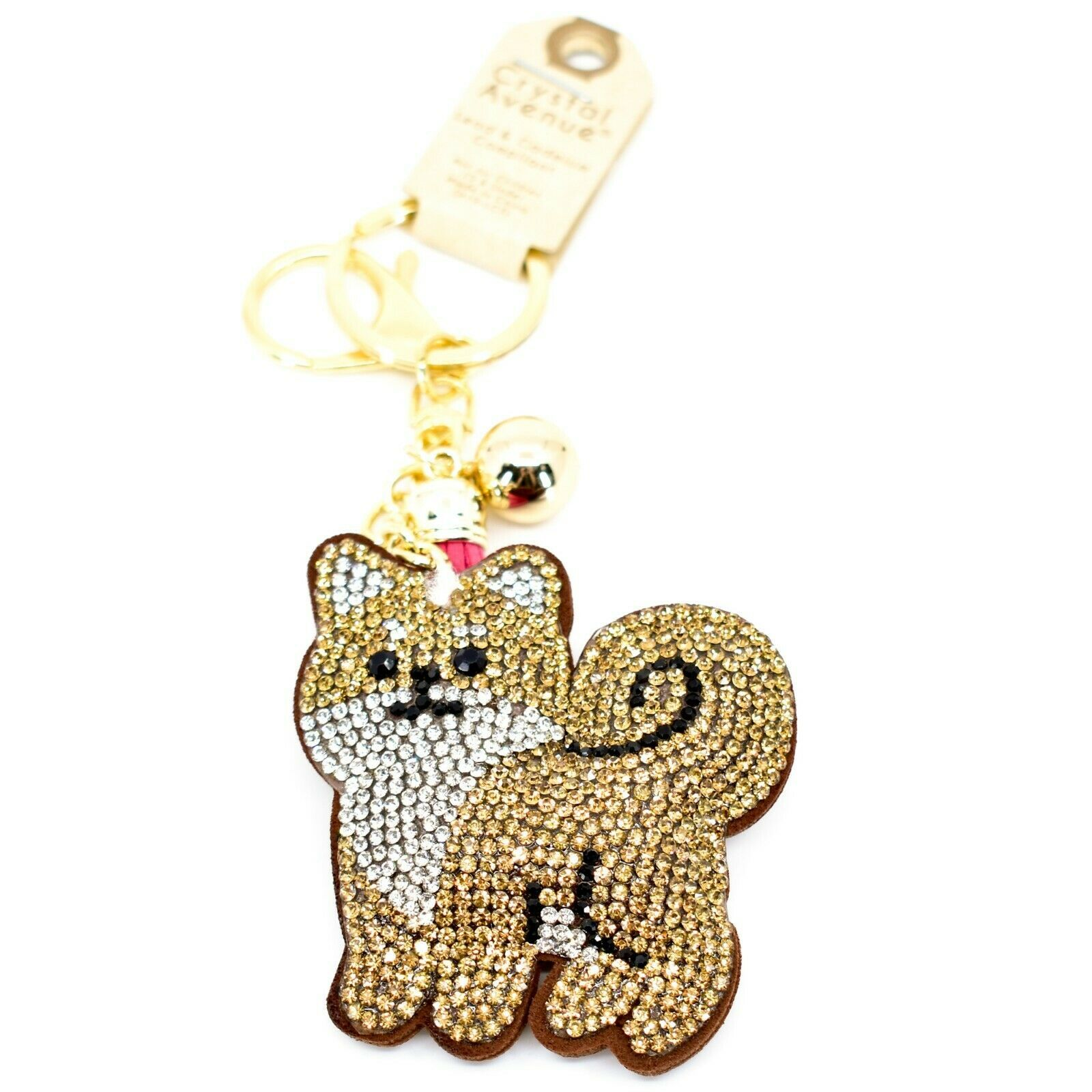 Pave Crystal Accent 3D Stuffed Pillow Tan Brown Fox Keychain Key Chain