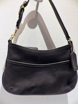 1980s Vintage Small Coach Bag Black Leather Brass Buckle and Findings Underarm D - $38.00