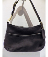 1980s Vintage Small Coach Bag Black Leather Brass Buckle and Findings Un... - $38.00